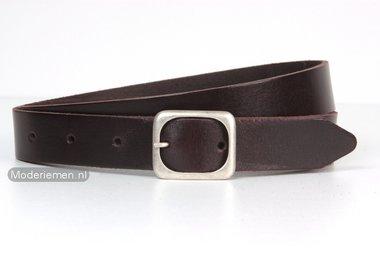 3cm donkerbruine riem - smalle bruine riem br309