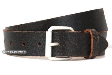 4cm jeans riem crack leder zwartbruin zg402
