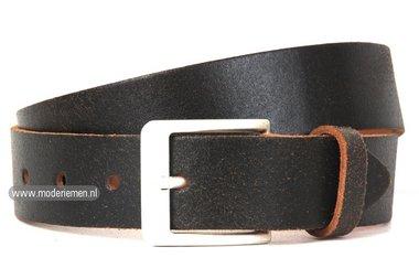 4cm jeans riem crack leder zwartbruin zg412