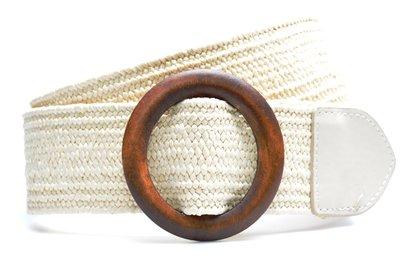 ecru raffia riem houten gesp