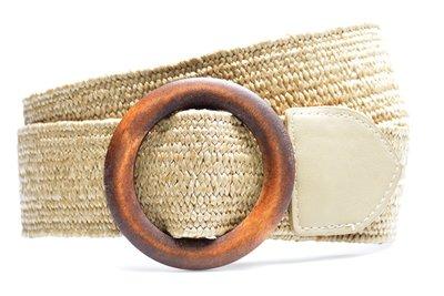 sand raffia riem houten gesp