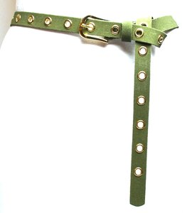 2 cm lange navy groene riem goud 20966