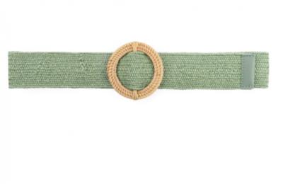 groene raffia riem rond C26165