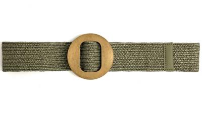 groene raffia riem houten gesp Y14