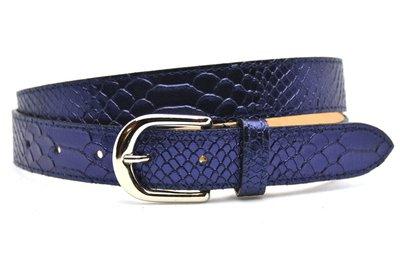 3cm dames riem python blauw 30943
