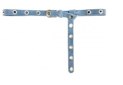 2,5cm lange blauwe riem zilver 25424