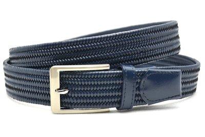 3,5 cm gevlochten elastische leren riem blauw 80093