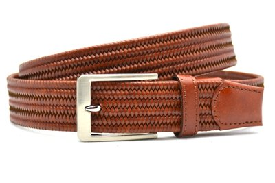 3,5 cm gevlochten elastische leren riem cognac 80093