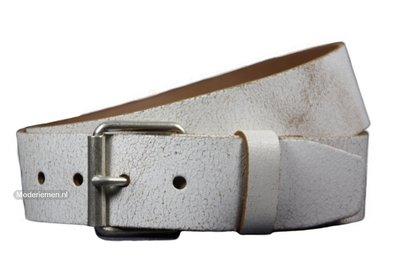 witte riem, jeans  riem van crack leder wg502