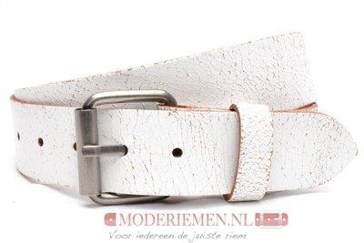 4cm witte riem - crack riem wit witcr402