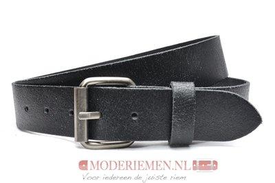 4cm jeans riem crack leder zwart zwcr402