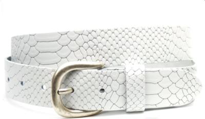 3,5cm witte riem - jeans riem wit met snake structuur wi350sn