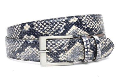 4cm riem blauwe slangenprint blauw400snake