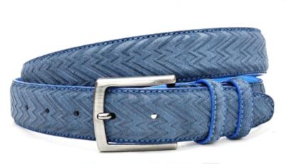 3,5cm pantalon riem blauw suède met zig zag print bls309/9030