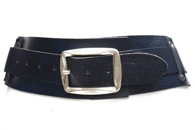 8cm brede dames riem donkerblauw 8150