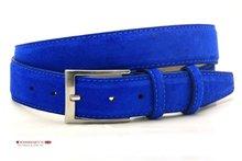 kobalt blauwe pantalon riem, kobalt blauwe suede riem